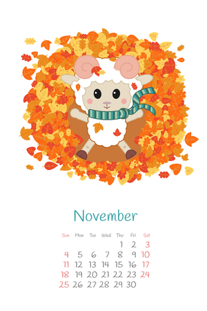 Calendar 2018 months November with sheep. Week starts from Sunday. Hand drawn with harvest of apples and pears, eps 10. Illustration