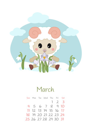 Calendar 2018 months March with sheep. Week starts from Sunday. Hand drawn with snowdrop, eps 10 Çizim