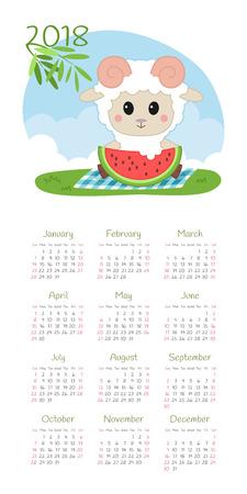 Calendar 2018 year with sheep design vector