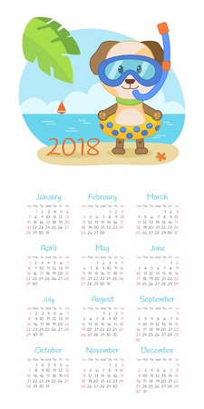 Calendar 2018 year with dog. Week starts from Sunday, eps 10