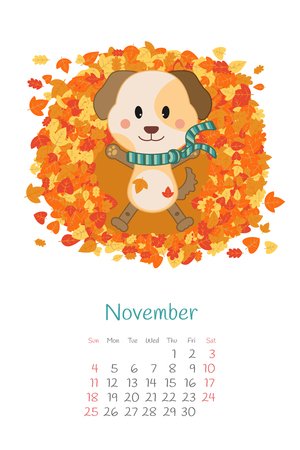 Calendar 2018 month of November with dog