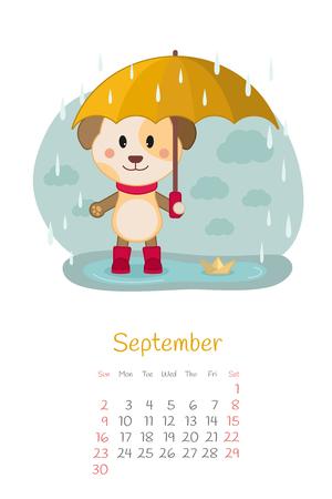 Calendar 2018 month of September with dog Illustration