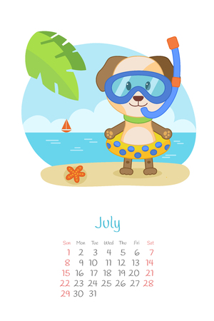 Calendar 2018 month of July with dog