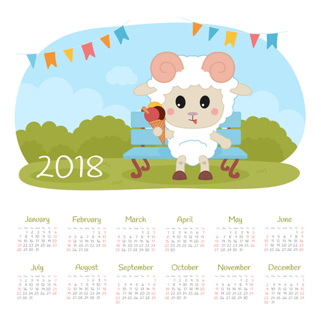 Calendar 2018 year with sheep. Week starts from Sunday, eps 10 Vettoriali