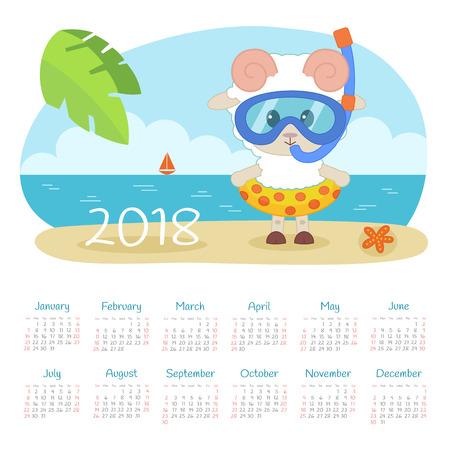 Calendar 2018 year with sheep. Week starts from Sunday, eps 10 Çizim