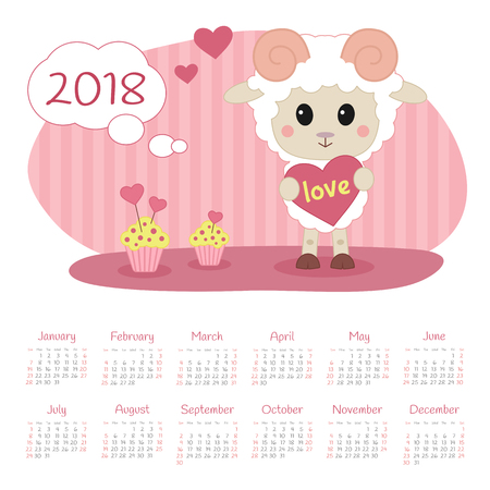 Calendar 2018 year with sheep. Week starts from Sunday