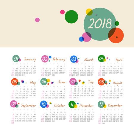 Modern vector Calendar 2018 year. Week Starts Sunday