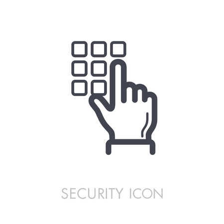 Hand finger entering pin code solid icon, unlock and password. Security sign. Graph symbol for your web site design vector illustration. Ilustrace