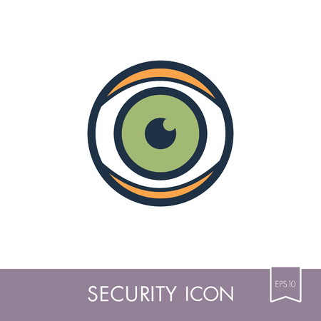 Iris scan icon isolated on white. Eye scanning, biometric recognition. Security sign. Graph symbol for your web site design, app, UI. Vector illustration, EPS10.