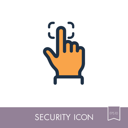 Fingerprint scanning line icon. Bio-metrics concept. Security sign. Graph symbol for your web site design, icon, app, ui. Vector illustration. Illustration