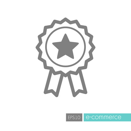 Ribbon award best seller icon. Bestseller tag sale label, badge, medal, guarantee quality product, business certificate. E-commerce sign