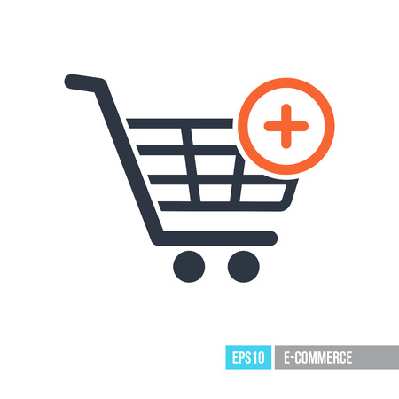 Shopping cart icon with plus. Add from cart. E-commerce sign. Graph symbol for your web site design, logo, app, UI. Vector illustration, EPS10. Vectores