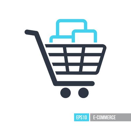Carrello con icona di scatole. Segno e-commerce. Simbolo grafico per la progettazione del tuo sito web, logo, app, interfaccia utente. Illustrazione vettoriale, EPS10. Logo