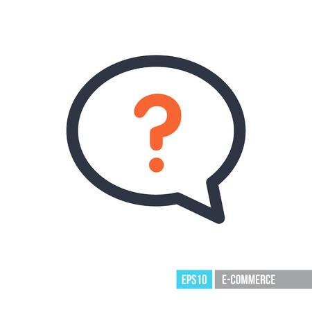 Speech bubble with question mark icon. E-commerce sign. Graph symbol for your web site design, logo, app, UI. Vector illustration, EPS10. Vettoriali