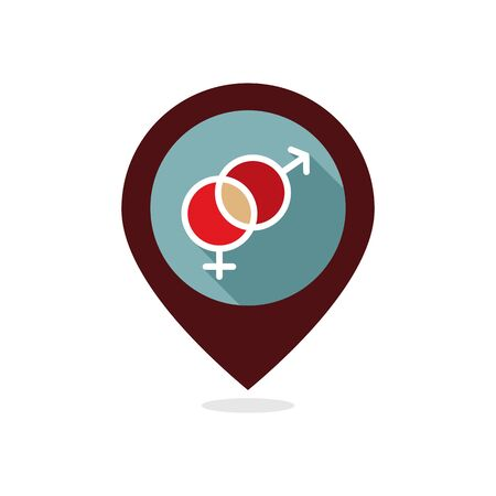 Male and female pin map icon vector symbols. Gender sign. Valentines day. Map pointer. Vector illustration, romance elements. Sticker, patch, badge, card for marriage, wedding.