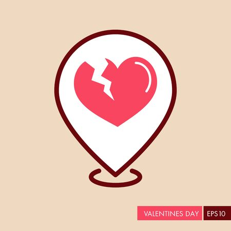 Broken heart pin map icon. Valentines day symbol. Map pointer. Vector illustration, romance elements. Sticker, patch, badge, card for marriage, wedding Illustration