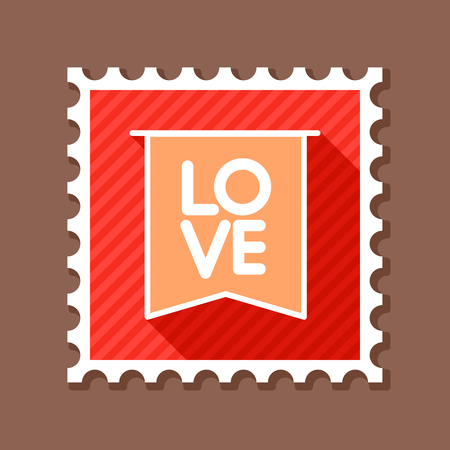 Flag with inscription Love stamp. Valentines day symbol. Vector illustration, romance elements. Sticker, patch, badge, card for marriage, wedding Illustration