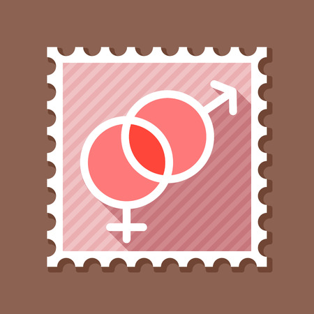Male and female stamp vector symbols. Gender sign. Valentines day. Vector illustration, romance elements.