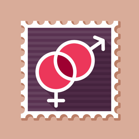 Male and female stamp vector symbols. Gender sign. Valentines day. Vector illustration, romance elements. Sticker, patch, badge, card for marriage, wedding