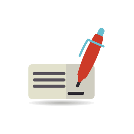 Blank bank check with pen and signature icon. E-commerce sign. Graph symbol for your web site design, logo, app, UI. Vector illustration, EPS10. Illustration