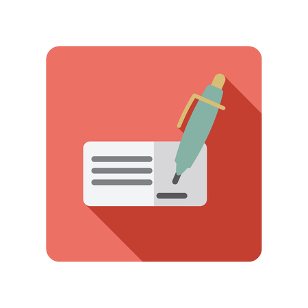 Blank bank check with pen and signature icon. E-commerce sign. Graph symbol for your web site design, app, UI. Vector illustration