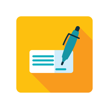 Blank bank check with pen and signature icon. E-commerce sign. Graph symbol for your web site design, logo, app, UI.