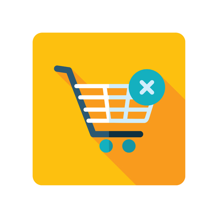 Shopping cart with cross sign. Cancel or delete purchase simple icon. E-commerce. Graph symbol for your web site design, logo, app, UI Stock Vector - 95197825