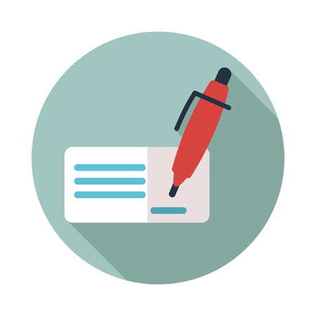 Blank bank check with pen and signature icon.