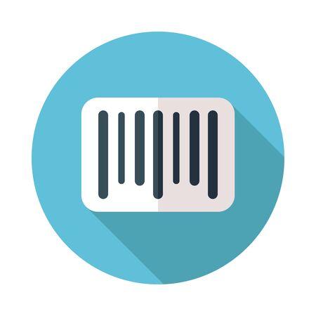 Bar code icon on blue circular background Stock Vector - 95852332