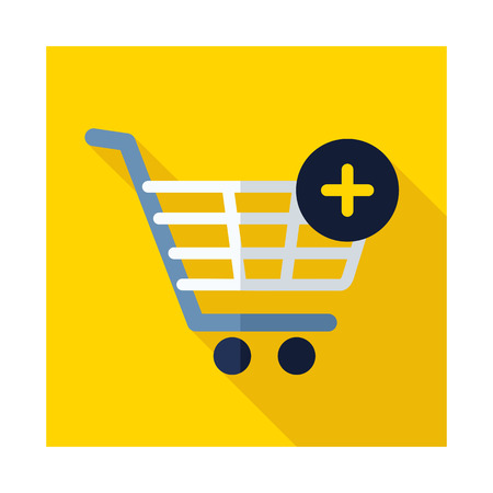 shopping cart icon with plus add from cart e commerce sign