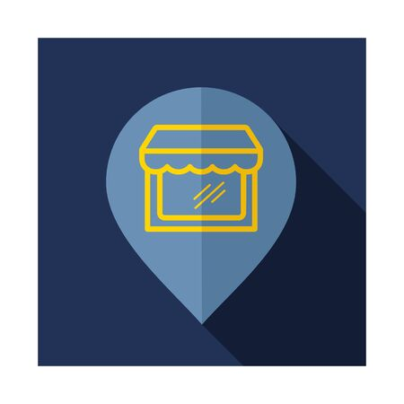 Supermarket store front pin map icon. E-commerce sign. Graph symbol for your web site design, logo, app, UI. Vector illustration, EPS10.
