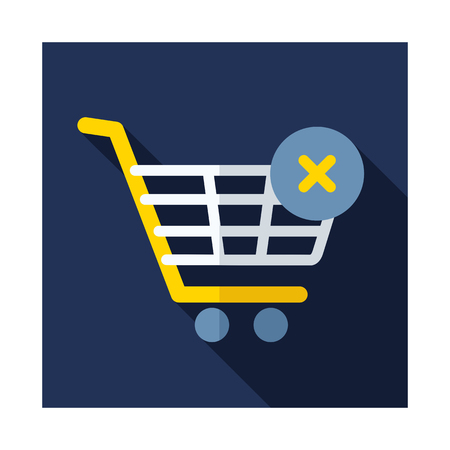 Shopping cart with cross sign isolated on blue background.