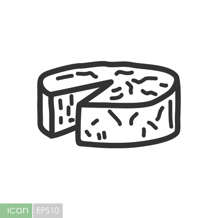 Soft cheese with mold icon. Graph symbol for your web site design, logo, app, UI. Vector illustration