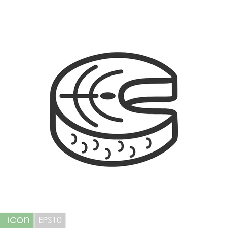 Steak of red fish salmon icon. Graph symbol for your web site design, logo, app, UI. Vector illustration