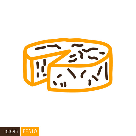 Soft cheese with mold icon. Farm animal sign. Graph symbol for your web site design, logo, app, UI. Vector illustration Ilustração