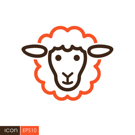 Sheep icon. Animal head. Farm sign. Graph symbol for your web site design, logo, app, UI. Vector illustration 向量圖像