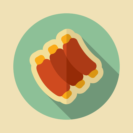 Ribs food meat icon. Graph symbol for your web site design, logo, app, UI. Vector illustration