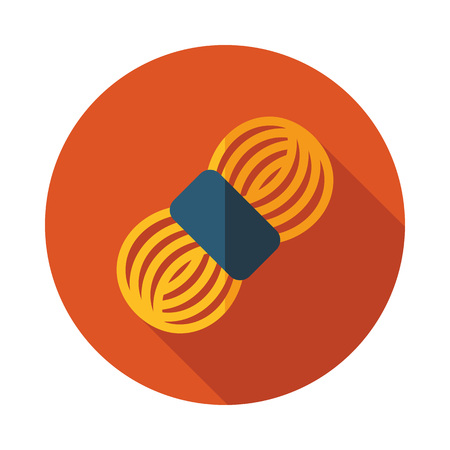 Roll of yarn icon on an orange circular background