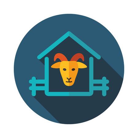 Icono de la casa de cabra. Signo de animales de granja. Símbolo gráfico para el diseño de su sitio web, logotipo, aplicación, interfaz de usuario. Ilustración vectorial Logos