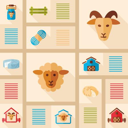 Farm animal icons set. Sheep and Goat. Graph symbol for your web site design, logo, app, UI. Vector illustration, EPS10. Illustration