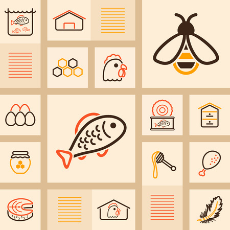 Farm animal icons set. Fish and Bee. Graph symbol for your web site design, logo, app, UI. Vector illustration, EPS10.