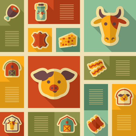 Farm animal icons set. Cow and Pig. Graph symbol for your web site design, logo, app, UI. Vector illustration, EPS10.