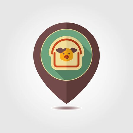 Pigsty pin map icon. Farm animal Map pointer. Map marker. Graph symbol for your web site design, logo, app, UI. Vector illustration