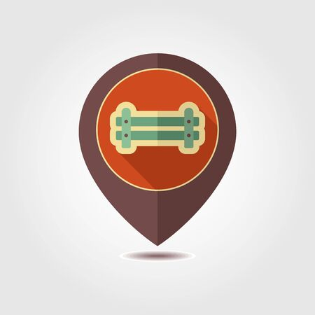 Wooden farm fence from crossed planking pin map icon. Farm animal Map pointer. Map marker. Graph symbol for your web site design, logo, app, UI. Vector illustration Illustration
