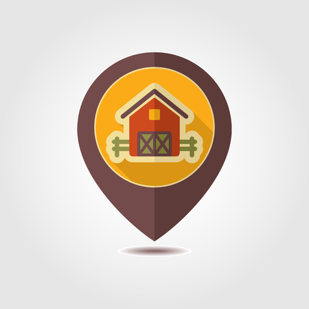 Barn pin map icon. Farm animal Map pointer. Map marker. Graph symbol for your web site design, logo, app, UI. Vector illustration Illusztráció
