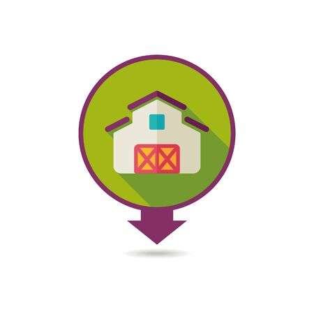 Barn pin map icon. Farm animal Map pointer. Map marker. Graph symbol for your web site design, logo, app, UI. Vector illustration Illustration