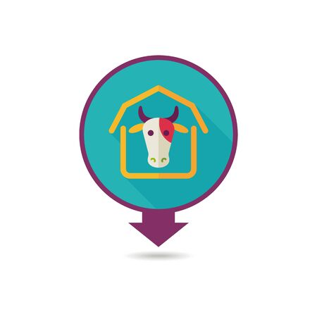 Cowshed pin map icon. Farm animal Map pointer. Map marker. Graph symbol for your web site design, logo, app, UI. Vector illustration Illusztráció