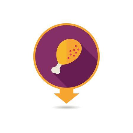 Chicken leg pin map icon. Farm animal Map pointer. Map marker. Graph symbol for your web site design, logo, app, UI. Vector illustration