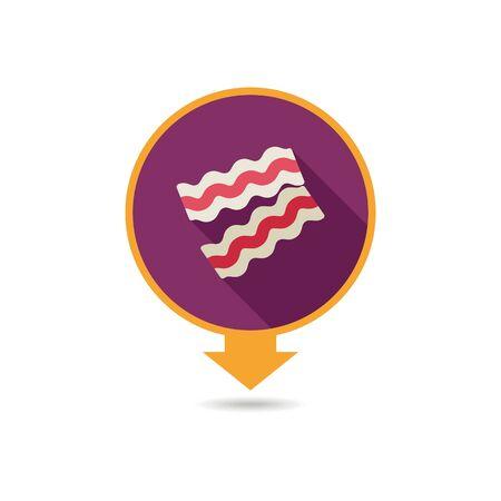 Bacon pieces pin map icon Ilustracja