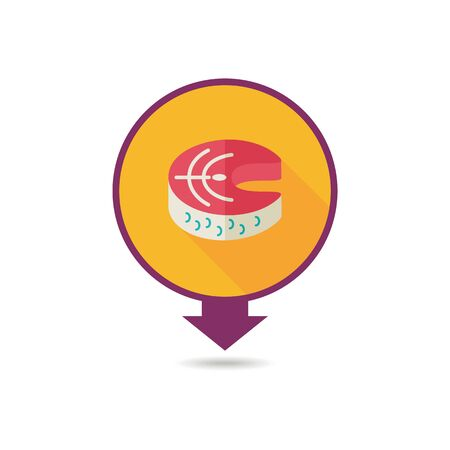 Steak of red fish salmon pin map icon. Farm animal Map pointer. Map marker. Graph symbol for your web site design, logo, app, UI. Vector illustration Illustration
